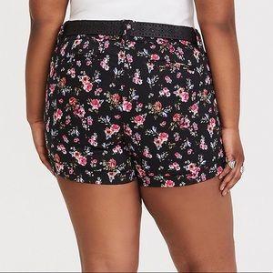 torrid Shorts - TORRID Black Floral Sateen Shorts